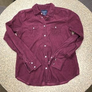 American Eagle 🦅 Purple Corduroy Button Down